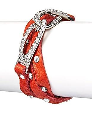 Chloe by Liv Oliver Orange Leather Wrap Bracelet With Crystal Hook Closure