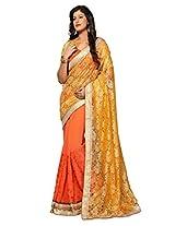 Dlines orange net and chiffon saree
