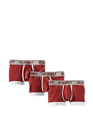 2(x)ist Men's Colour Solid No-Show Trunk 3-Pack (Scotts Red)