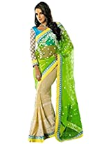 Bollywood Replica Neha Dhupia Chiku and Green Color Party Wedding Wear Saree