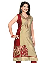 Silk Computor Embroidery Work Kurtis(Size : X-Large)