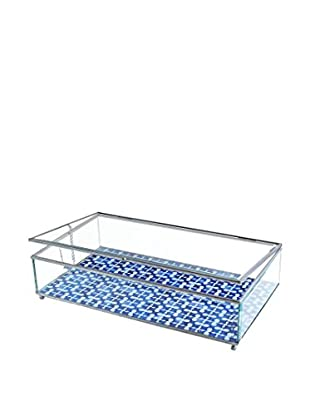 American Atelier Medallion Squares Glass Display Box, Blue