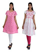 Anpassa Women's Cotton Pink and White Kurti Combo Set - Small