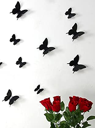 Ambiance Sticker Wandtattoo 12 tlg. Set 3D Butterflies