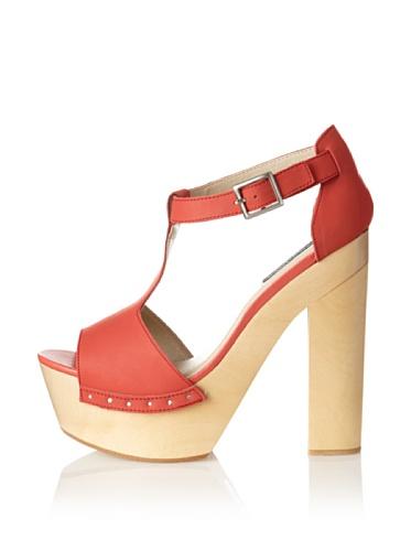 Messeca Women's Mila T-Strap Sandal (Coral)