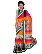 Riti Riwaz Multi Chapa Silk Printed saree with unstitched blouse RPS6202A