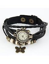 Leather Bracelet - Watch For Girls -- Multilayer Designer Vintage Classic watch (BLACK)