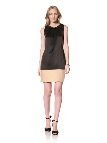 Theia Womens Washed Silk Color Block Wedge Dress (Black)