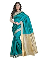 VASTRAKALA Cotton Silk Saree With Khicha Blouse and Pallu(Blue)