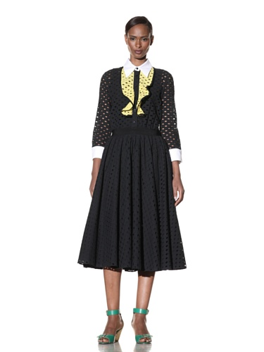 Moschino Cheap and Chic Women's Eyelet Dress with Contrast Bib (Black)