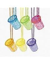 LUAU HIBISCUS SHOT GLASS BEAD NECKLACE (1 Dozen) - BULK
