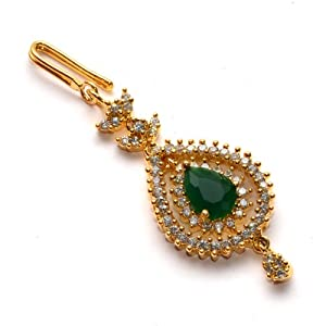 Anvi Collections Centered With Emerald Maang Tikka