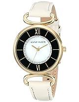 Anne Klein Womens AK/1932MPIV Swarovski Crystal Accented Ivory Leather Strap Watch