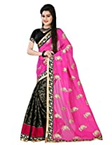 Astha Fashion Beautiful party ware Pink and Black Emboidery work saree