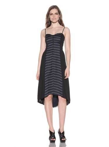 under.ligne by Doo.Ri Women's Striped Sundress with Cutout Sides (Navy Stripe)