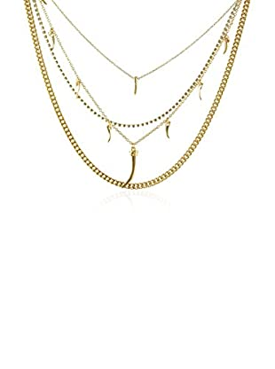Ettika 18K Gold-Plated Layered In Luxury Crystal Necklace with Horn Charms