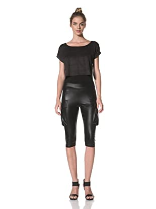 Norma Kamali Women's Cargo Cropped Legging (Black)