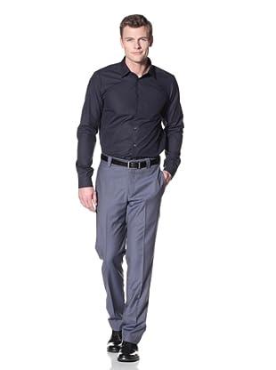 Incotex Ivory Men's Wool Flat Front Trouser (Blue Mix)