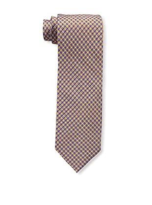 Bruno Piattelli Men's Neat Silk Tie, Orange Navy