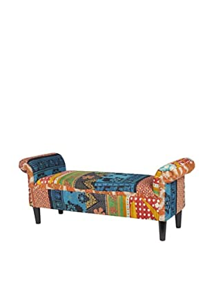 One of a Kind Kantha Roll Arm Bench, Blue Multi