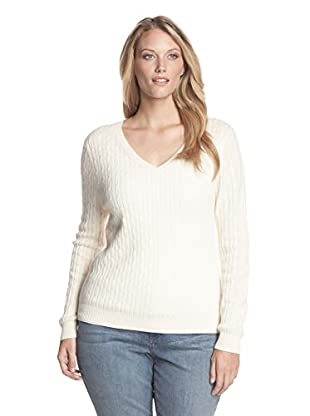 Kier & J Plus Women's Cashmere V-Neck Cable Sweater (Creme)