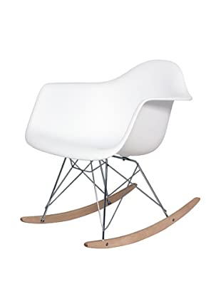 Stilnovo Adult Mid-Century Rocking Chair With Arms & Ash Wood Sleighs, White