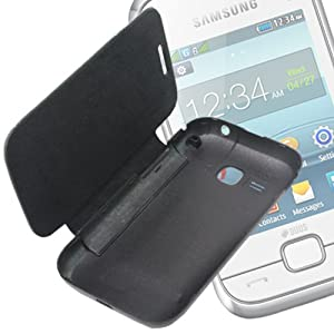 Black Back Case Cover Skin Flip Pouch For Samsung Rex 60 C3312R -FS01