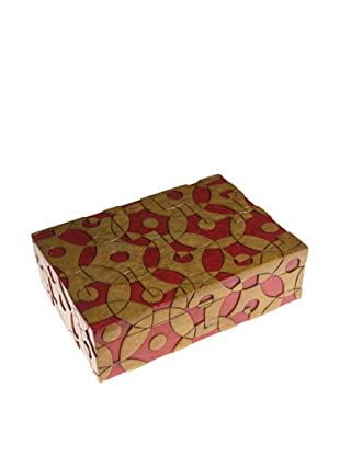 The Niger Bend Rectangular Soapstone Box with Contemporary Circles Design, Red