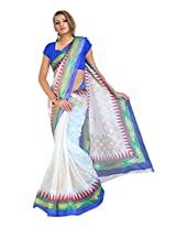 Branded Indian Women Sari Printed White & Blue (Hnq106594Crm)