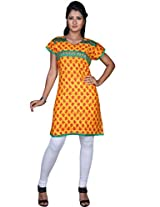 Amber Yellow Cotton Printed Casual and Party Kurti in Large Size