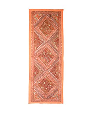 Uptown Down One-of-a-Kind Floor Runner of Vintage Tribal Collars, Orange/Gold
