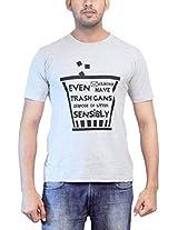 THESMO Unisex Round Neck Cotton T-Shirt, Grey, XXL