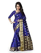 Shree Sanskruti Self Design Tassar Silk Blue Color Saree For Women With Blouse Piece