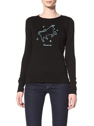 Acrobat Women's Taurus Long Sleeve Crew Sweater (Black/Aqua Marine)