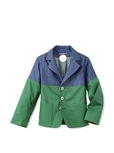 kicokids Boy's Patchwork Classic Blazer (Indigo/grass)