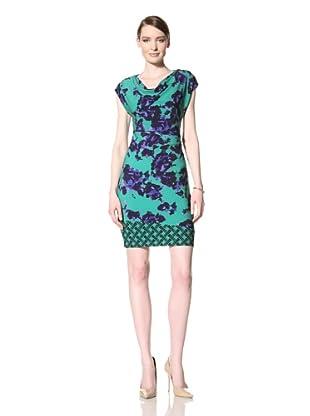 Donna Morgan Women's Georgina Draped Dress (Green Envy Multi)