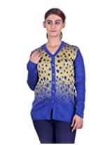 eWools Women's Yellow::Blue Wool Cardigan (788-eWools-Large)