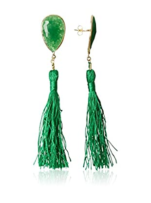 Silver One Pendientes Gran Fantasia Verde