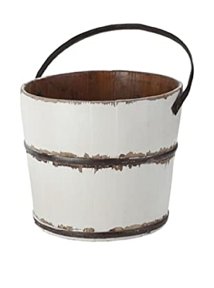 Antique Revival Wooden Round Wash Bucket (White)