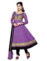 Suchi Fashion Heavy Embroidery Purple and Black Cotton Semi Stitched Anarkali Suit