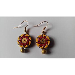 Shingles d'sire Small Dangler Earrings in Red & Yellow