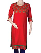 Mee Mee Maternity Cotton Kurti with Feeding Zipper (Red_M)