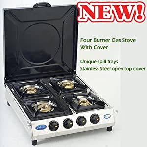 Branded 4 Burner Gas Stove with Cover - Silver & Black