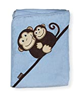 "Extra Large 40""x30"" Absorbent Hooded Towel, Monkeys (blue), Frenchie Mini Couture"