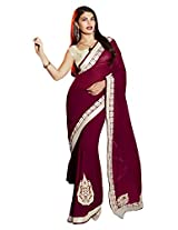 Purple Color Georgette Saree with Zari, resham embroidery, patch butta with stone work and lace border