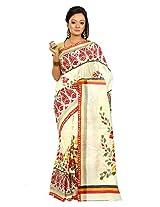B3Fashion Handloom handpainted and Kalamkari block printed Pure Bishnupur Tussar Silk saree