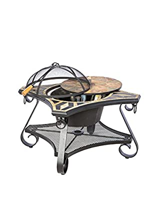 Alfresco Home San Marco Mosaic Fire Pit & Beverage Cooler Table
