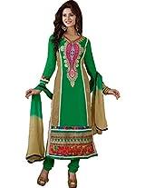 Parrot Green and Beige Semi Stitched Churidar Kameez Suit