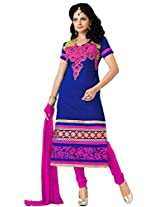 FadAttire Embroidered Cotton Straight Fit Suit-Blue-FAST10