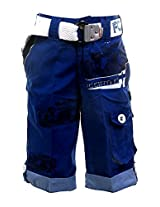 Fingerchips Boys Blue Colour Go Carting 3/4th Shorts with matching belt (waist 28 )
